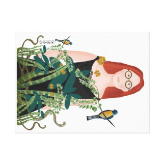 Woman in her jungle painting on white canvas print