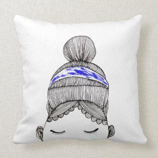 Woman in high bun cushion