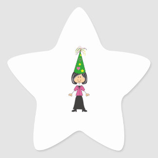 WOMAN IN PARTY HAT STAR STICKER