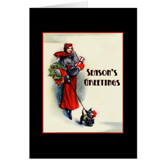 Woman in red coat shopping w Scottish Terrier 5x7 Card