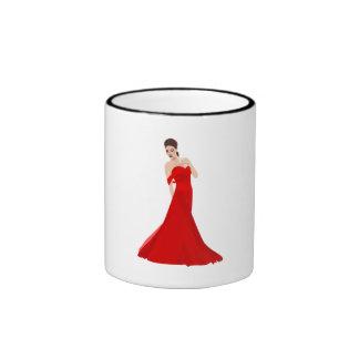 Woman In Red Dress Mugs