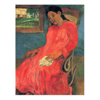 Woman in red dress - Paul Gauguin Postcard