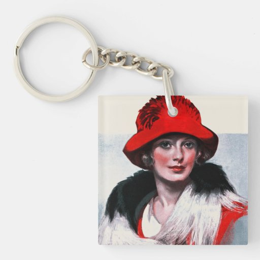 Woman in Red Hat Acrylic Key Chain