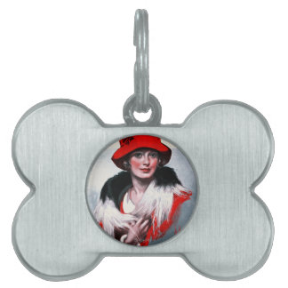 Woman in Red Hat Pet ID Tags