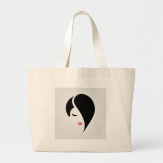 Woman in red lipstick and emo hair jumbo tote bag