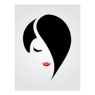 Woman in red lipstick and emo hair postcard