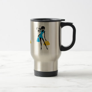 Woman in Short Blue Dress With Shopping Bags Travel Mug