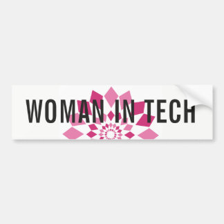 Woman in Tech Bumper Sticker - Pink Pinwheel