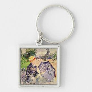 Woman in the Bois de Boulogne by Berthe Morisot Key Chain