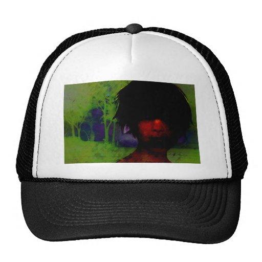 Woman in the Dark woods Mesh Hats
