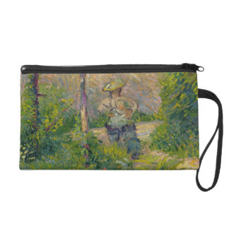 Woman in the Garden (oil on canvas) Wristlet Purse