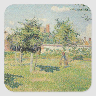 Woman in the Meadow at Eragny, Spring, 1887 Square Sticker