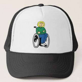Woman in Wheelchair Trucker Hat