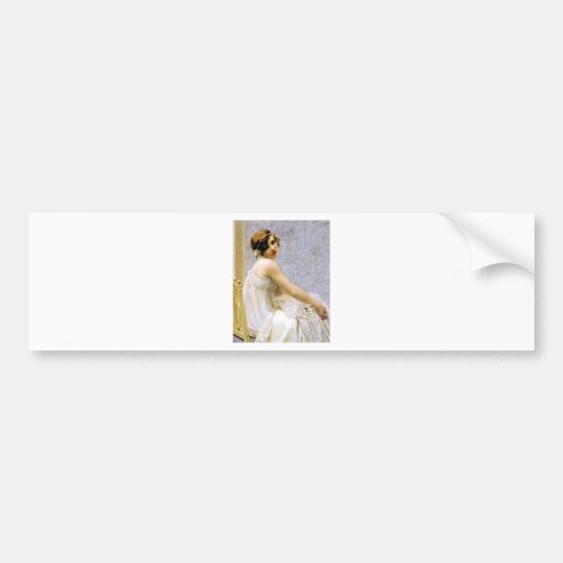 Woman in White Dress painting Bumper Sticker