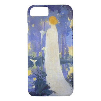 Woman in white with Calla lillies iPhone 7 Case
