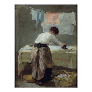 Woman Ironing Poster
