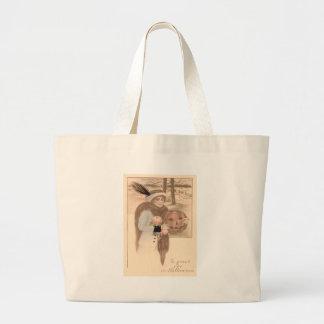 Woman Jack O' Lantern Flowers Jumbo Tote Bag