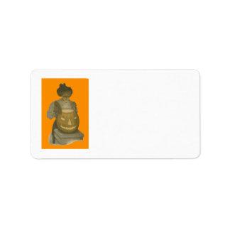 Woman Jack O Lantern Pumpkin Address Label