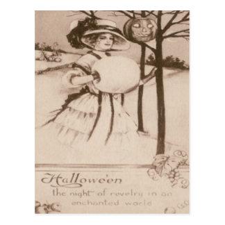Woman Jack O' Lantern Pumpkin Crescent Moon Postcard
