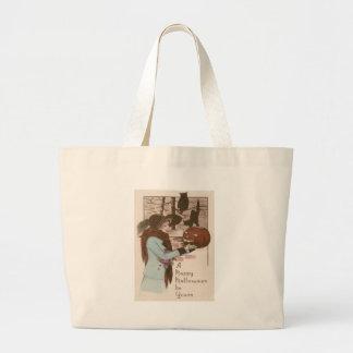 Woman Jack O' Lantern Pumpkin Owl Jumbo Tote Bag