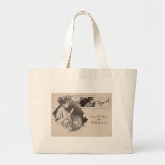 Woman Jack O' Lantern Pumpkin Witch Black Cat Jumbo Tote Bag