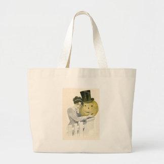 Woman Jack O' Lantern Top Hat Pumpkin Jumbo Tote Bag