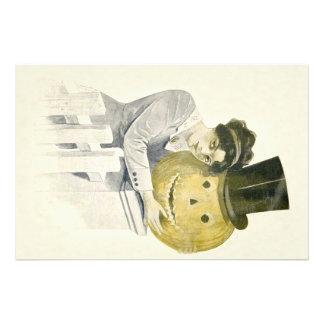 Woman Jack O' Lantern Top Hat Pumpkin Photo Print