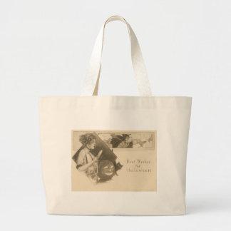 Woman Jack O' Lantern Witch Black Cat Jumbo Tote Bag