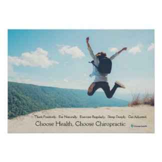 Woman jumping at top of hill Chiropractic poster