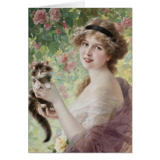 Woman & Kitten in the Rose Garden, Card