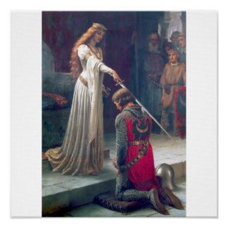 woman knight sword castle antique painting poster