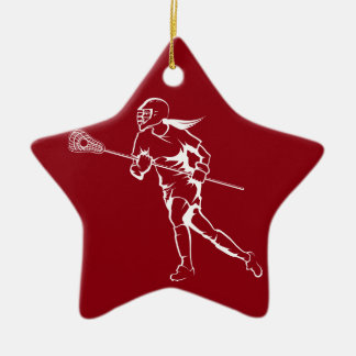 Woman Lacrosse Player Running Ceramic Ornament
