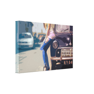 Woman Leaning on an Old Classic Car Canvas Print