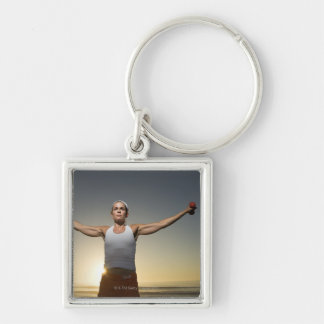 Woman lifting weights 4 Silver-Colored square key ring