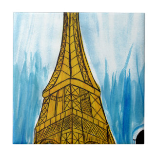 Woman Looking at Eiffel Small Square Tile