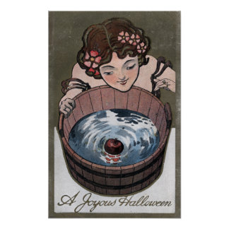 Woman Looking in Wood Barrel Poster