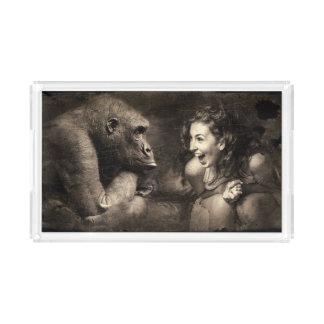 Woman Making Gorilla Laugh Acrylic Tray
