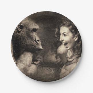 Woman Making Gorilla Laugh Paper Plate