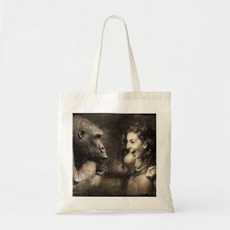 Woman Making Gorilla Laugh Tote Bag