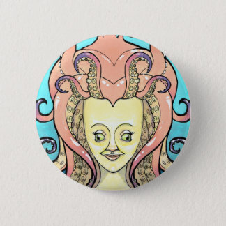 woman octopus 6 cm round badge