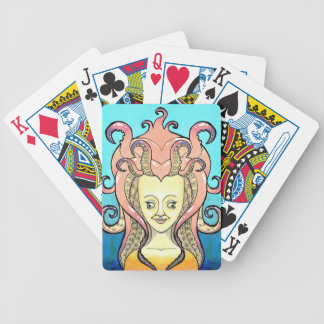 woman octopus bicycle playing cards
