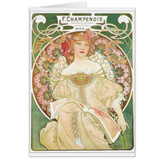 Woman of Leisure Alphonse Mucha Illustration Card