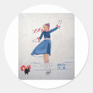 WOMAN OF PARIS ARTNOUVEAU CUREL SYLVESTRE STOAT ROUND STICKER