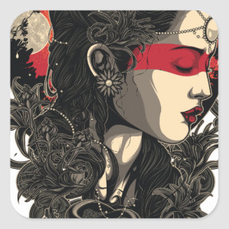 Woman of the Rising Sun Square Sticker