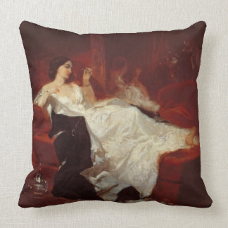 Woman on a red sofa cushion