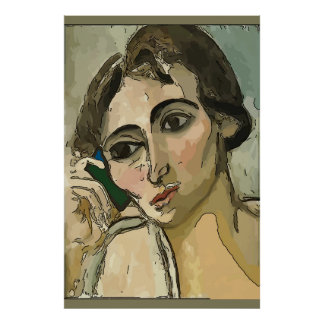 Woman on Cell Phone Poster