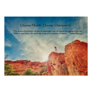 Woman on rock chiropractic poster
