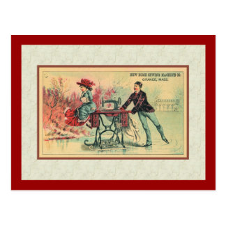 Woman on Sewing Machine on Ice Post Cards