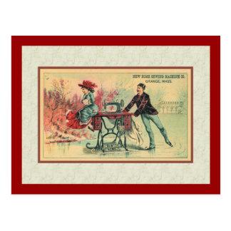 Woman on Sewing Machine on Ice Postcard