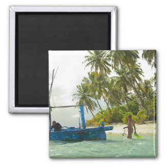 Woman on small traditional fishing boat, fridge magnet
